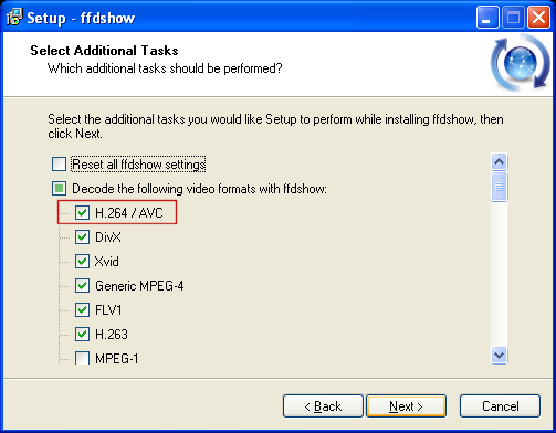 ffdshow: Select Additional Tasks