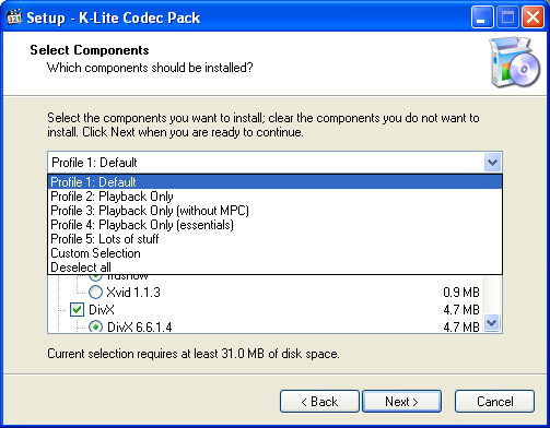 K-Lite: Select Components