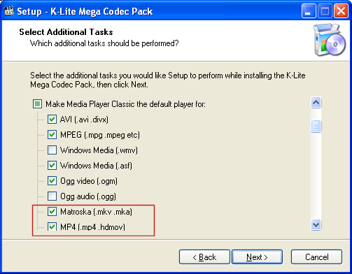 K-Lite: Select Additional Tasks